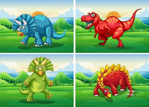 Cuatro dinosaurios de pie en el campo.