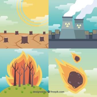 Cuatro diseños de catástrofes