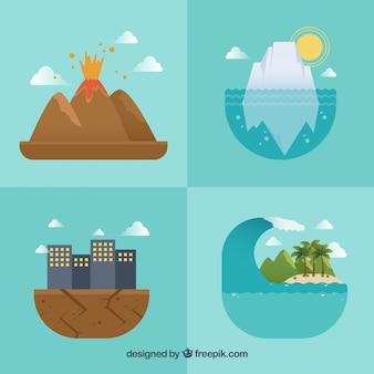 Cuatro diseños de desastres naturales