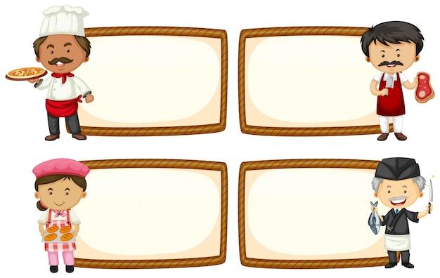 Cuatro diseños de marco con chef y panadero