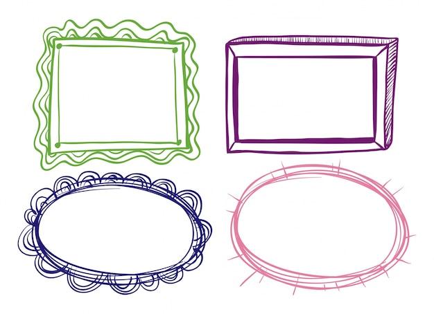 Cuatro diseños de marco sobre fondo blanco