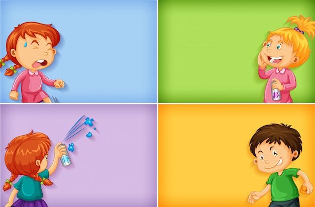 Cuatro diseños de plantillas de fondo con niños y niñas