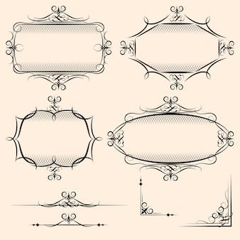 Cuatro elegantes marcos vintage vectoriales con detalles de sombreado y adornos para usos como elemento decorativo