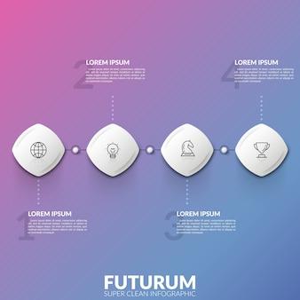 Cuatro elementos cuadrados con iconos lineales dentro conectados en línea horizontal y cuadros de texto. concepto de cuatro opciones numeradas para elegir.