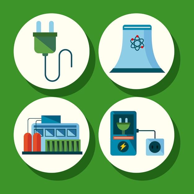 Cuatro elementos de energía limpia.