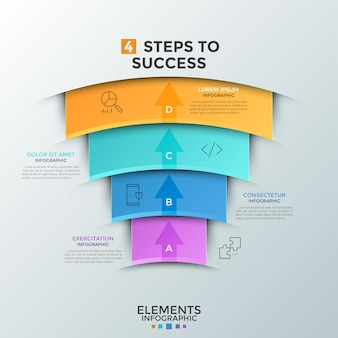 Cuatro elementos en forma de arco de colores superpuestos con iconos de líneas finas, flechas puntiagudas hacia arriba y lugar para el texto. concepto de 4 pasos para el éxito empresarial. plantilla de diseño infográfico. ilustración vectorial.