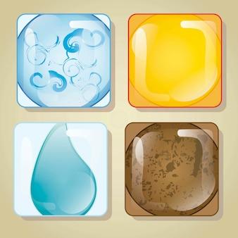 Los cuatro elementos en la ilustración vectorial de vidrio cuadrado