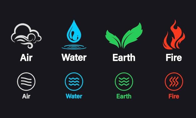 Cuatro elementos de la naturaleza aire, fuego, agua, tierra. elementos de la naturaleza: tierra, agua, aire y fuego, concepto natural. plantilla de logotipo vectorial. concepto de energía de la naturaleza, sinergia, turismo, viajes.