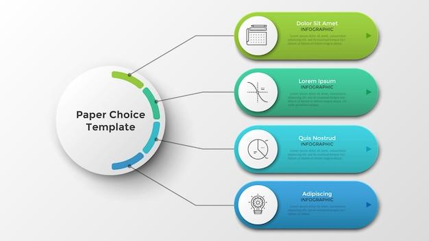Cuatro elementos redondeados conectados al círculo blanco del papel principal por líneas. plantilla de diseño de infografía moderna. ilustración vectorial realista para visualización de 4 características u opciones de proyecto empresarial.