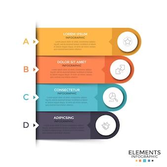 Cuatro elementos redondeados con iconos de líneas finas, cuadros de texto en el interior y letras colocadas una debajo de la otra. concepto de menú emergente con 4 opciones para sitio web. plantilla de diseño infográfico. ilustración vectorial.