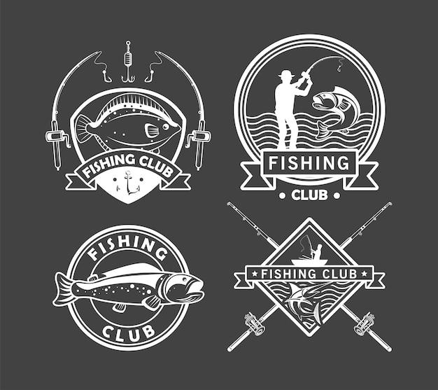 Cuatro emblemas de pesca