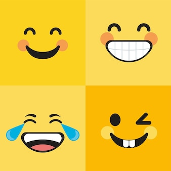 Cuatro emoticonos sonriendo