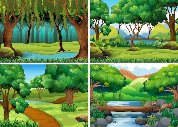 Cuatro escenas de bosque y río