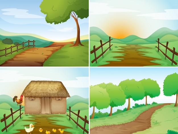 Cuatro escenas de campo con cabaña y senderos