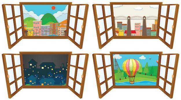 Cuatro escenas de la ilustración de la ventana