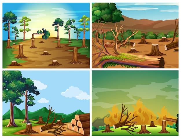 Cuatro escenas de la deforestación y el fuego salvaje ilustración
