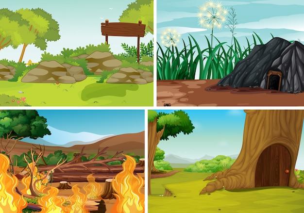 Cuatro escenas de desastres naturales diferentes del estilo de dibujos animados del bosque.