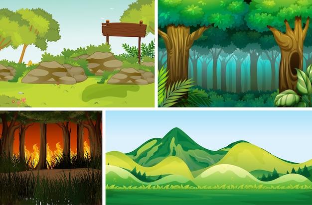 Cuatro escenas de desastres naturales diferentes del estilo de dibujos animados del bosque