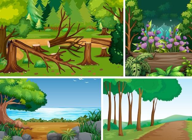 Cuatro escenas diferentes de estilo de dibujos animados de bosque.
