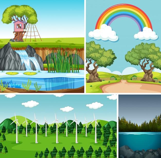 Cuatro escenas diferentes en estilo de dibujos animados de entorno natural.