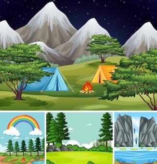 Cuatro escenas diferentes en el estilo de dibujos animados de la naturaleza