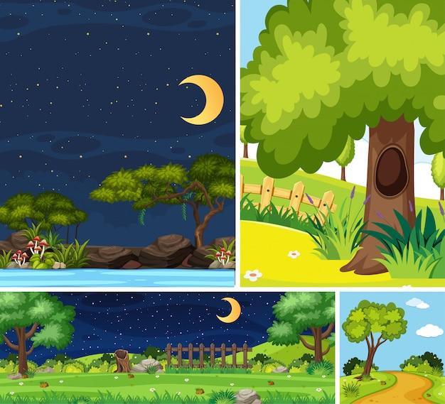 Cuatro escenas diferentes del lugar de la naturaleza en escenas verticales y de horizonte durante el día y la noche