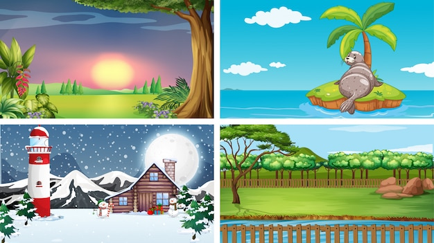 Cuatro escenas de diferentes lugares.