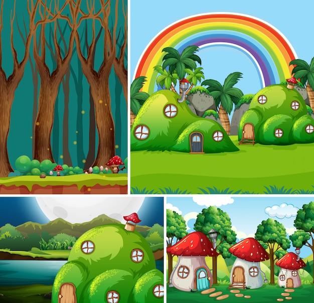 Cuatro escenas diferentes del mundo de fantasía con casa de fantasía en cuento de hadas y bosque en la escena nocturna