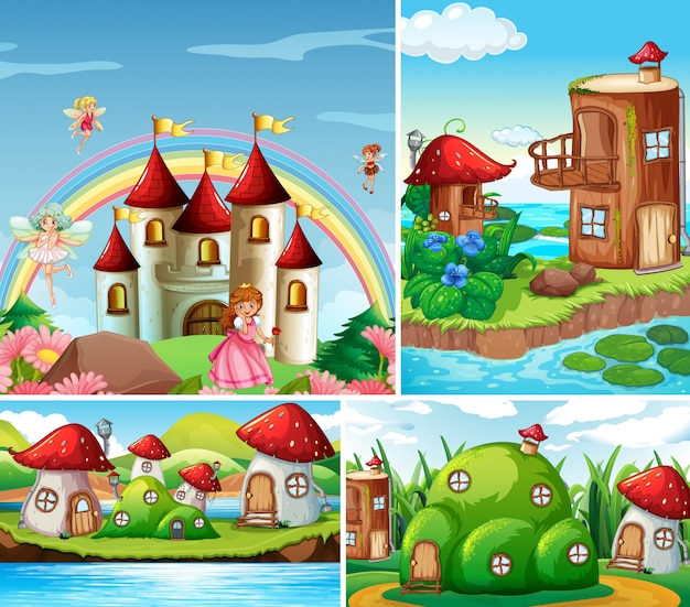 Cuatro escenas diferentes del mundo de fantasía con hermosas hadas en el cuento de hadas y castillo con arcoiris, casa de fantasía y casa de hongos