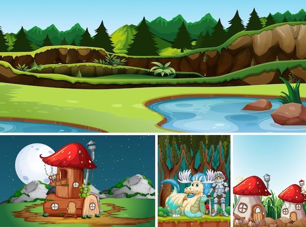 Cuatro escenas diferentes del mundo de fantasía con lugares de fantasía y personajes de fantasía.