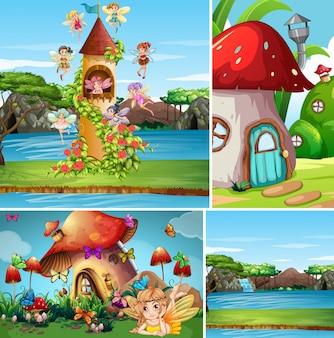 Cuatro escenas diferentes del mundo de fantasía con personaje de fantasía y casa de fantasía