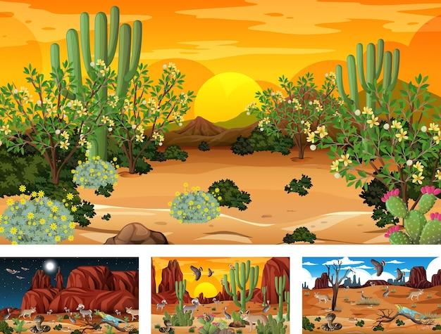 Cuatro escenas diferentes de paisaje de bosque desértico con animales y plantas.