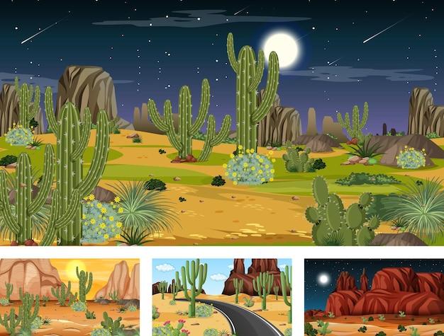 Cuatro escenas diferentes de paisaje de bosque desértico con varias plantas del desierto