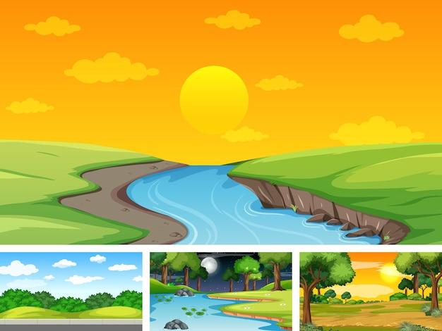 Cuatro escenas diferentes de parque natural y bosque.