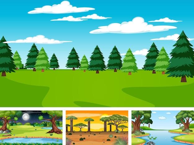 Cuatro escenas diferentes del parque natural y el bosque.