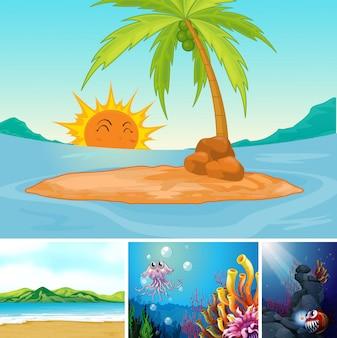Cuatro escenas diferentes de playa tropical y bajo el agua con estilo de dibujos animados de crema marina