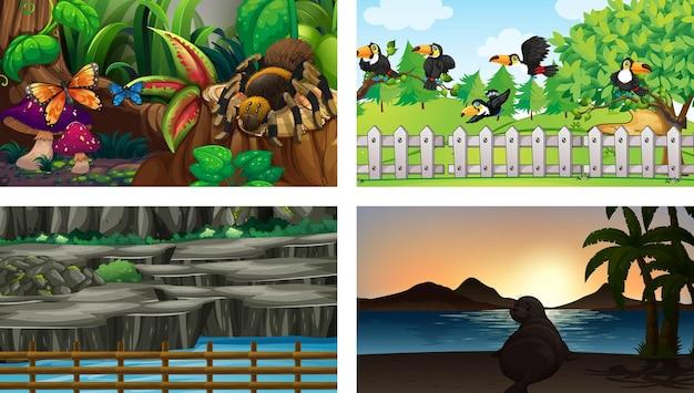 Cuatro escenas diferentes con varios personajes de dibujos animados de animales.
