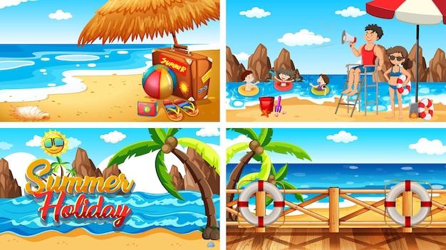 Cuatro escenas de fondo con gente en la playa.