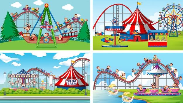 Cuatro escenas de fondo con monos felices montando en el parque