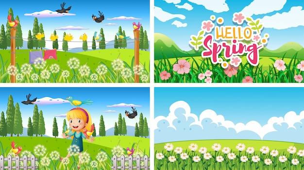 Cuatro escenas de fondo con niños y animales en el parque.