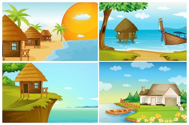 Cuatro escenas de fondo con el océano y el río