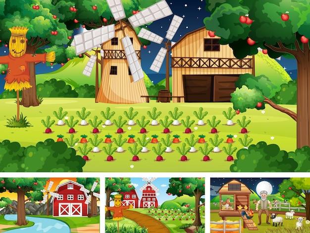 Cuatro escenas de granja diferentes con animales.
