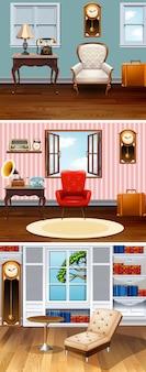 Cuatro escenas de habitaciones en la casa.