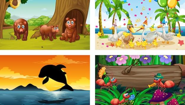 Cuatro escenas horizontales de naturaleza diferente con varios animales.