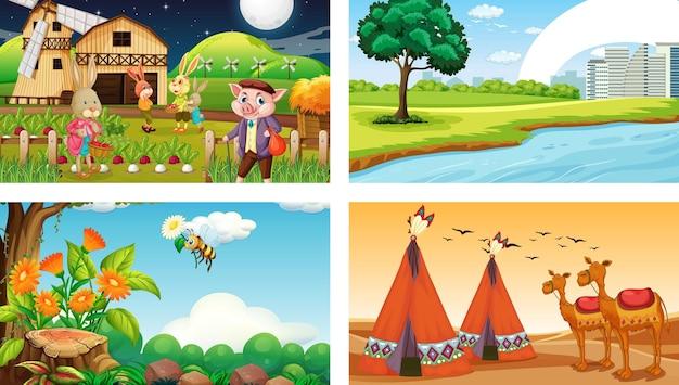 Cuatro escenas horizontales de naturaleza diferente.