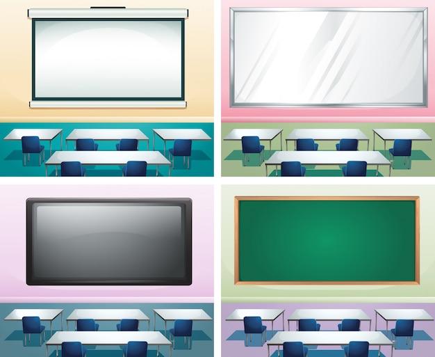 Cuatro escenas de la ilustración de aulas