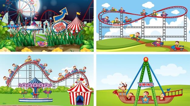 Cuatro escenas con muchas atracciones en la feria.