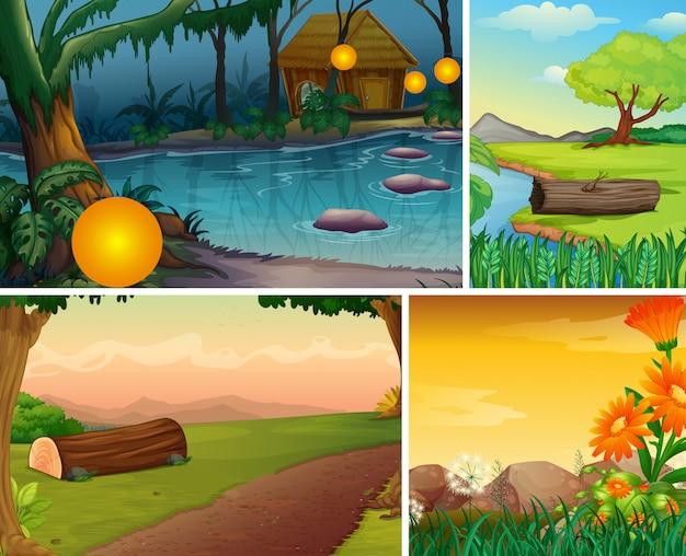 Cuatro escenas de naturaleza diferente de estilo de dibujos animados de bosque y pantano