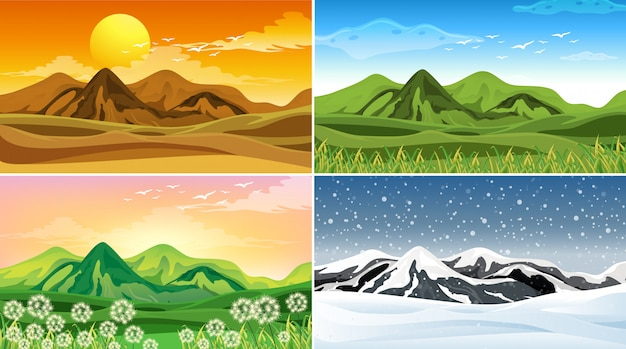 Cuatro escenas de la naturaleza en diferentes estaciones
