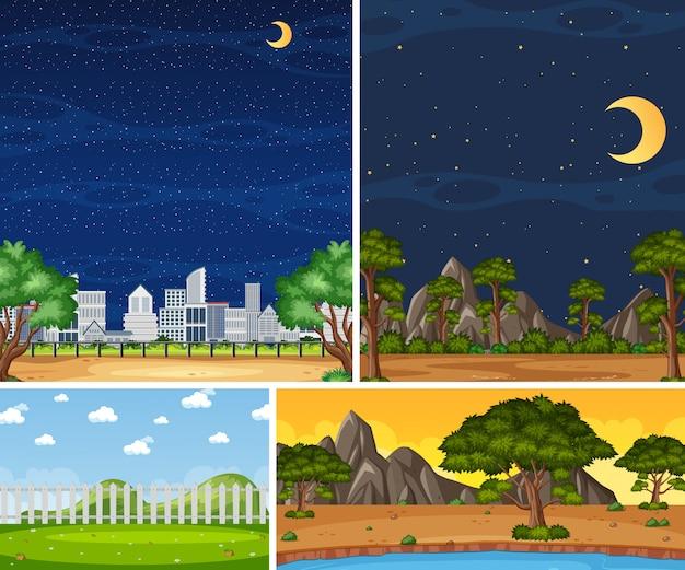 Cuatro escenas de la naturaleza diferentes de fondo con árboles verdes en diferentes momentos.